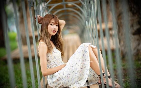 Wallpaper Pure Asian girl, skirt, sit on bench