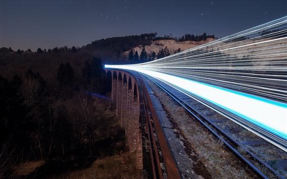 Wallpaper Railroad, train, light lines, night