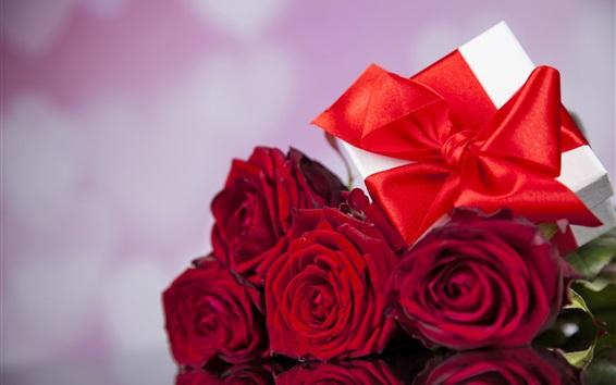 Fondos de pantalla Rosas rojas, regalo, romántico, amor