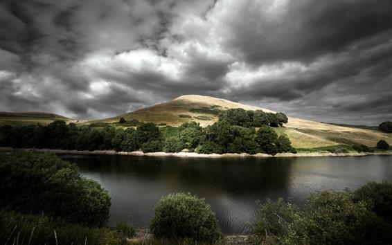 Fondos de pantalla Río, colina, árboles, nubes gruesas