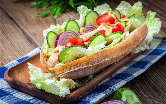 Wallpaper Sandwich, cucumbers, cabbage, onion, fast food