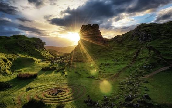 Обои Шотландия, Остров Скай, природный ландшафт, зеленый, облака, восход солнца