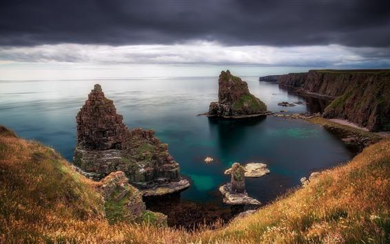 Wallpaper Scotland, UK, sea, island, grass, thick clouds