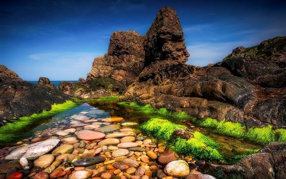 Wallpaper Scotland, UK, stones, clear water, sea