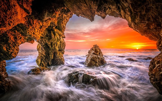 Wallpaper Sea, water, hole, sunset
