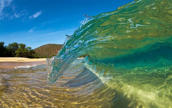 Wallpaper Sea wave roll, moment, beach
