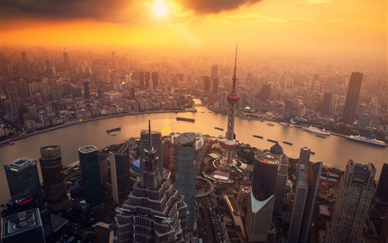 배경 화면 상하이, 아침에 도시, 안개, 일출, 고층 빌딩, 중국