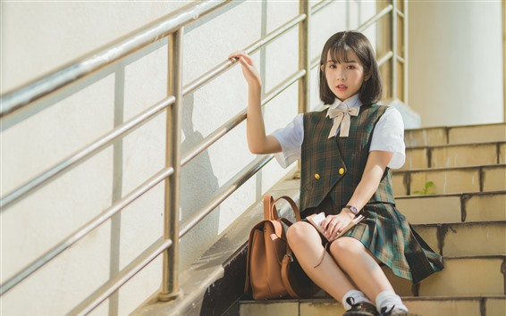 Wallpaper Short hair schoolgirl, ladder