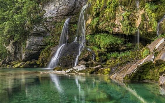 Wallpaper Slovenia, Bovec, waterfall, lake