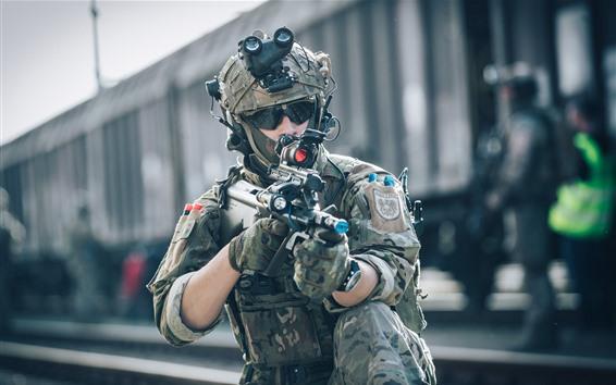 Wallpaper Soldiers, helmet, glasses, weapon