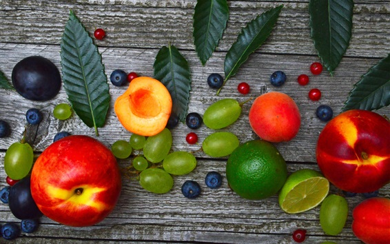 Wallpaper Some fruit, lime, grape, peach, blueberry, leaf