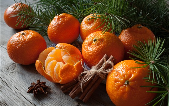 Papéis de Parede Algumas tangerinas, canela, galhos de pinheiro