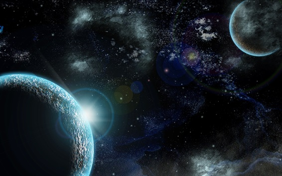 Fondos de pantalla Espacio, estrellas, planeta, luz