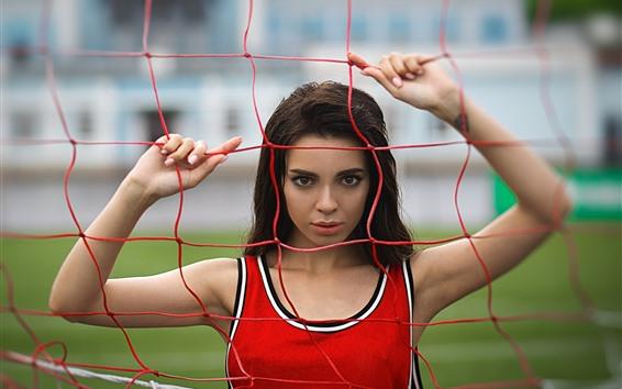 Обои Спортивная девушка, стадион, забор