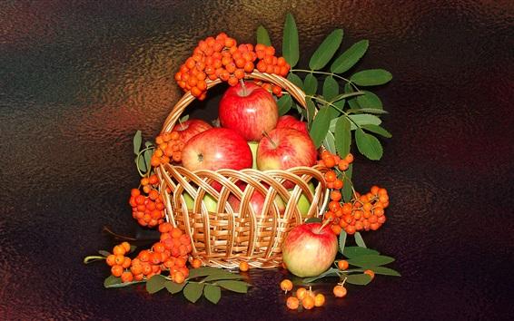 Wallpaper Still life, apples and berries, basket, fruit