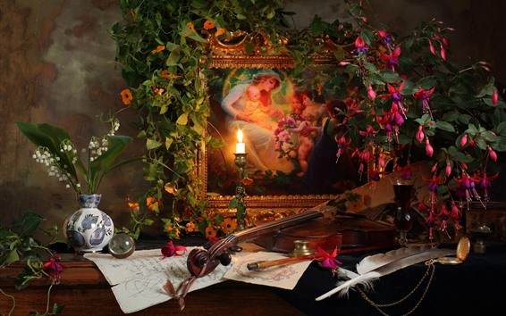 Wallpaper Still life, picture, flowers, candle, flame, violin
