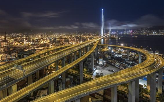 Wallpaper Stonecutters Bridge, Hong Kong, roads, night, city