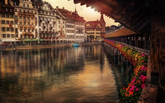 Wallpaper Switzerland, Lucerne, Reuss River, houses
