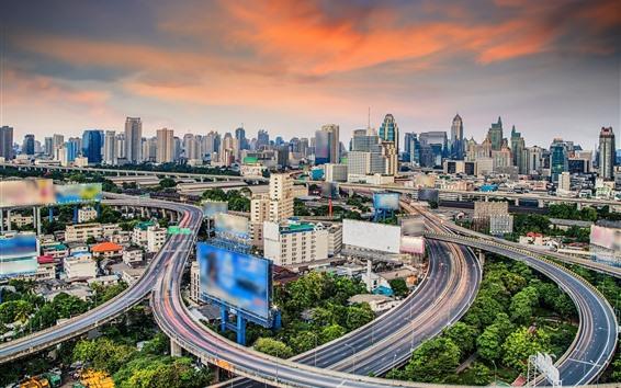 Fond d'écran Thaïlande, Bangkok, gratte-ciel, routes, vue sur la ville