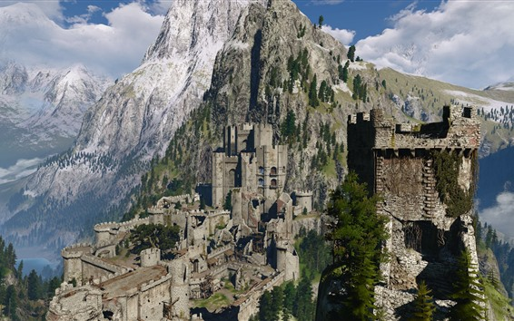 Papéis de Parede The Witcher 3: Wild Hunt, castelo, floresta, montanhas