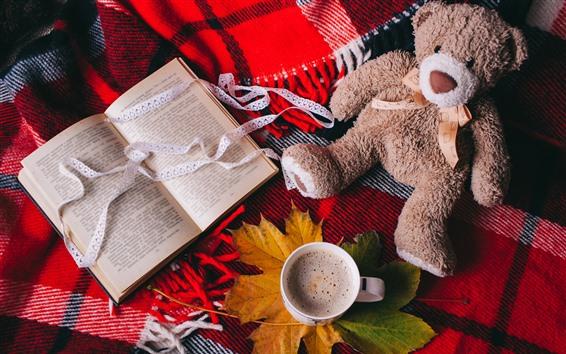 Обои Игрушечный медведь, кофе, чашка, кленовый лист, книга