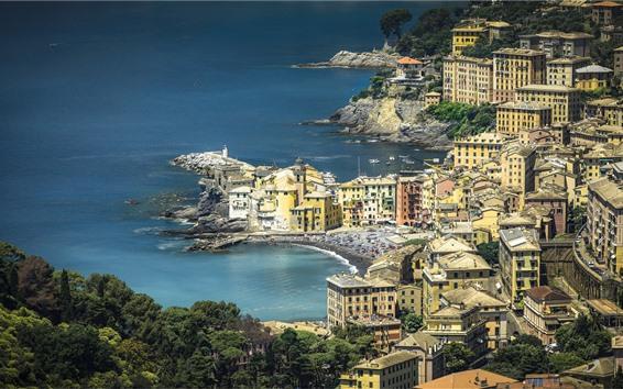 壁紙 イタリア、リグーリア、住宅、海、海岸への旅行