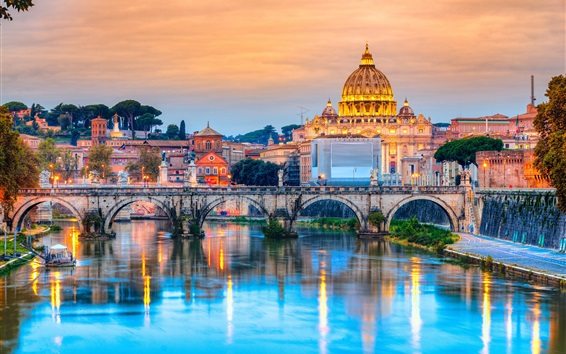 Wallpaper Travel to Rome, Italy, cathedral, river, bridge, dusk, lights