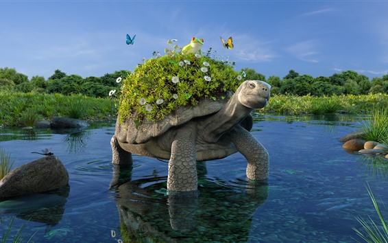 Wallpaper Turtle, pond, frog, flowers, grass, creative design