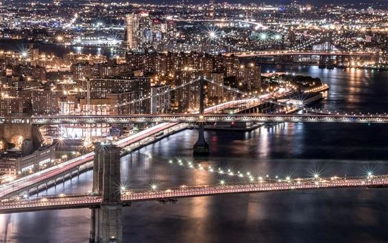 Wallpaper USA, Brooklyn, Manhattan, Williamsburg Bridge, city night, skyscrapers, lights