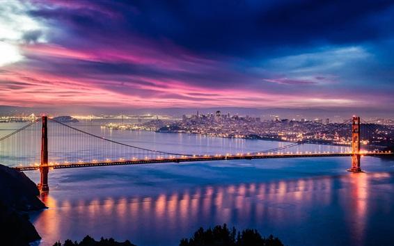 壁紙 アメリカ、カリフォルニア州、ゴールデンゲートブリッジ、夕暮れ、夜、海、ライト