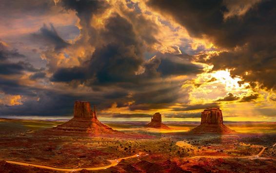 Papéis de Parede Eua, vale monumento, deserto, natureza, paisagem