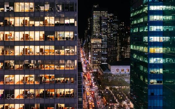 壁紙 アメリカ、ニューヨーク、マンハッタン、夜間、オフィス、ライト、建物