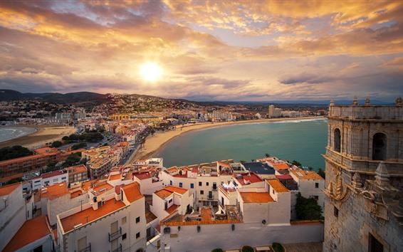 Papéis de Parede Valencia, espanha, cidade, casas, praia