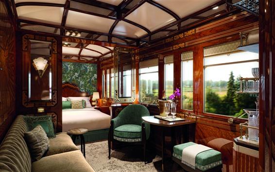 Wallpaper Venice Simplon Orient Express, luxury suite, bed, sofa