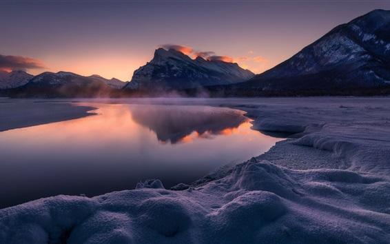 Обои Vermillion Lakes, Канада, Национальный парк Банф, снег, горы, сумерки