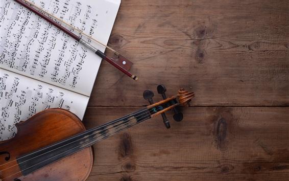Papéis de Parede Violino, partitura musical, mesa de madeira