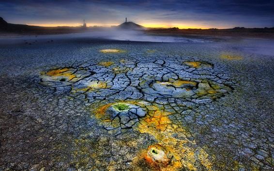 배경 화면 화산, 용암, 균열, 황혼