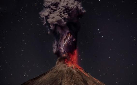 Обои Вулкан, лава, извержение, дым, молния, звезда, ночь