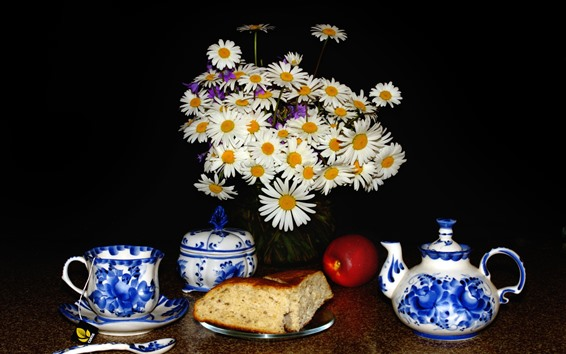 Wallpaper White chamomile flowers, teapot, cup, bread, apple, black background