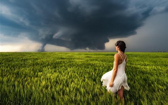 Fondos de pantalla Chica falda blanca, vista posterior, campo de trigo, nubes