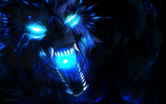 배경 화면 늑대, 푸른 불꽃, 예술 그림