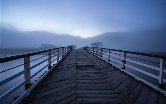 Fond d'écran Pont en bois, brouillard, rivière, matin