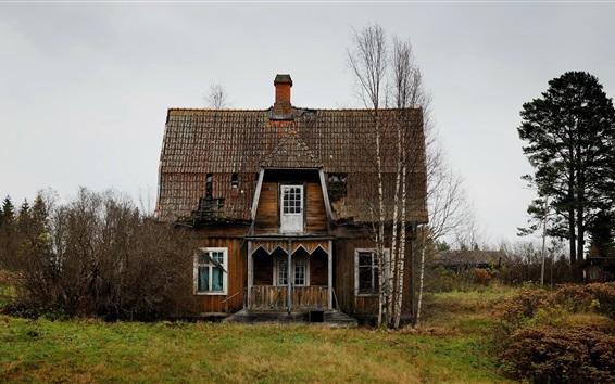 Fond d'écran Maison en bois, arbres, campagne