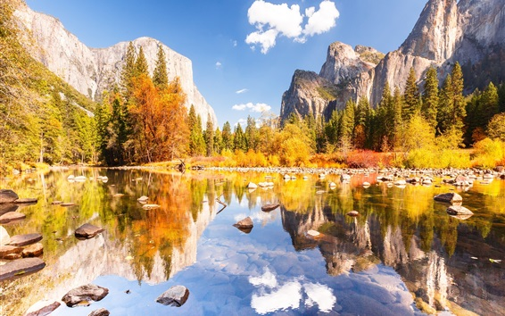 Wallpaper Yosemite National Park, beautiful autumn, mountains, lake, stones, trees
