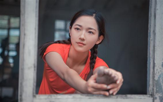 Wallpaper Young asian girl, braids