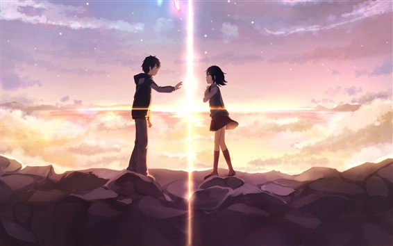 Wallpaper Your Name, girl and boy, love, Japanese anime