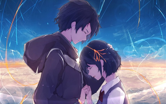 Wallpaper Your Name, happiness, boy and girl, anime