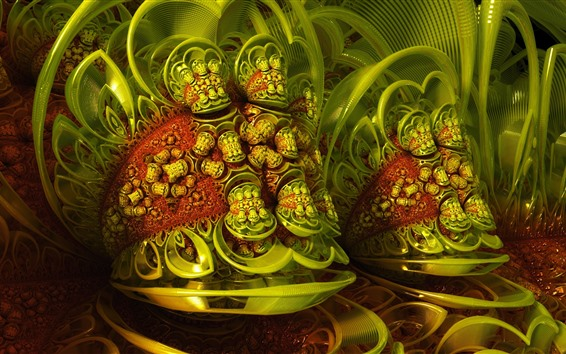 Wallpaper 3D dream picture, green style, abstract