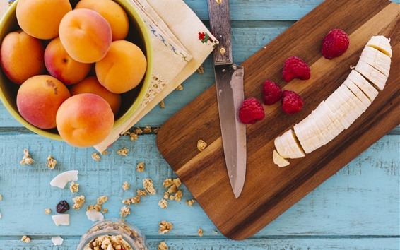 Обои Абрикос, банан, малина, нож
