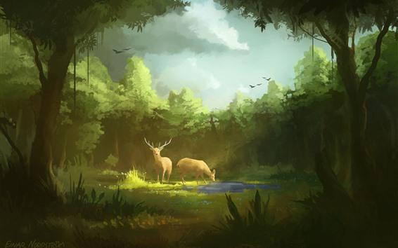 Papéis de Parede Arte pintura, floresta, veado